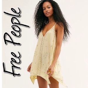 Free People Silver Linings Embellished Slip NWT M